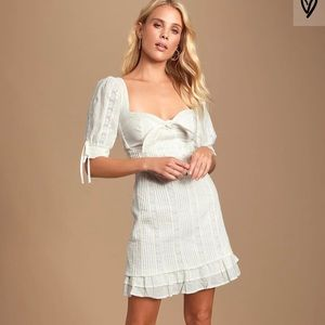Ryleigh White Tie Front Pleated Lace Mini Dress